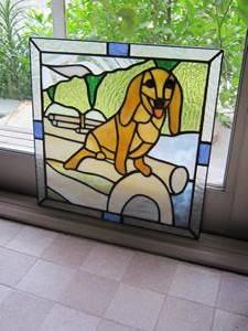 愛犬をモチーフにステンドグラスを作りました
