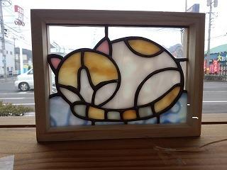 猫をステンドグラスでデザインしてみました